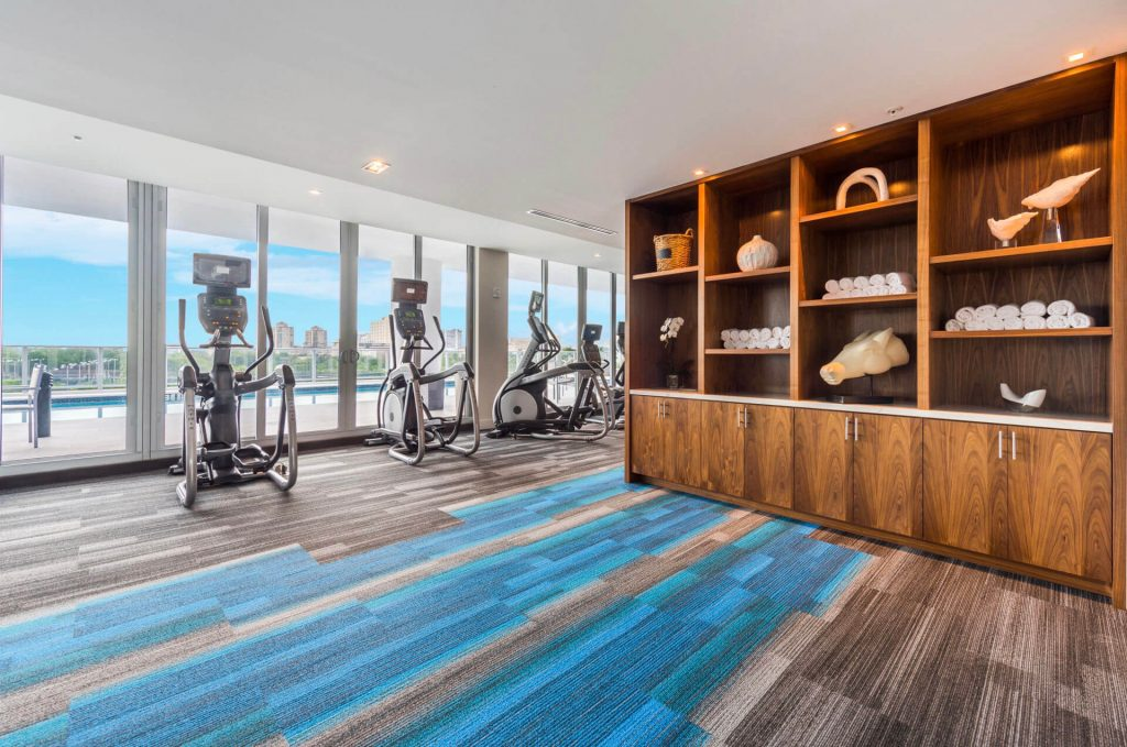 Fitness Room bookshelf and treadmills