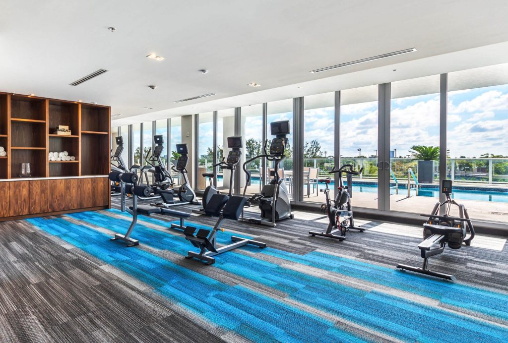 Fitness center. Ellipticals, stationary bikes, steppers, spin bikes, rowers and various benches