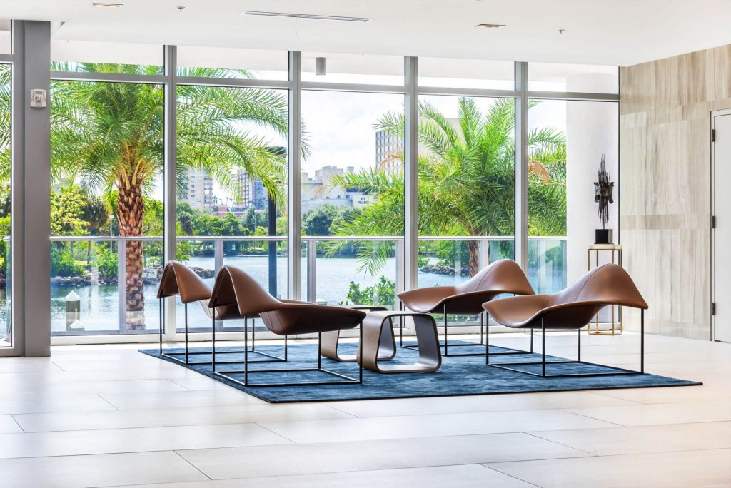 Modern Seating Area with modern tables in lobby
